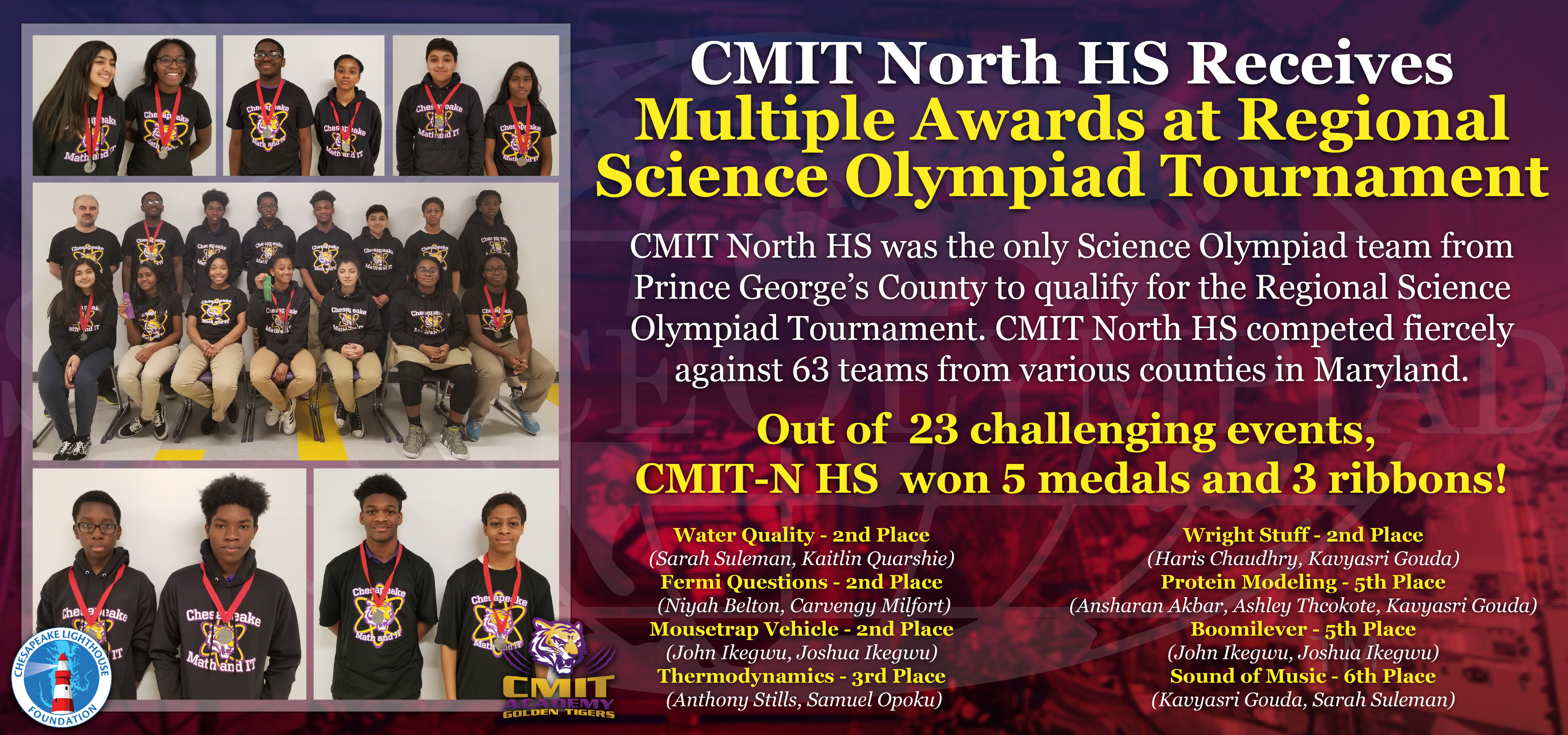 CMIT North HS Honored at Regional Science Olympiad Tournament