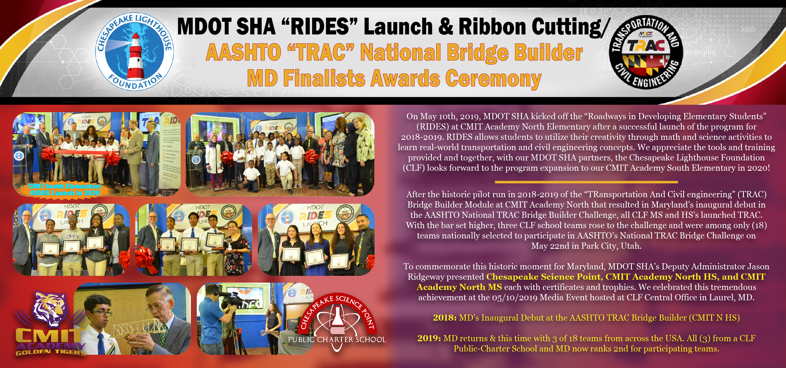 "MDOT SHA ""RIDES"" Launch & Ribbon Cutting / AASHTO ""TRAC"" National Bridge Builder MD Finalists Awards Ceremony"