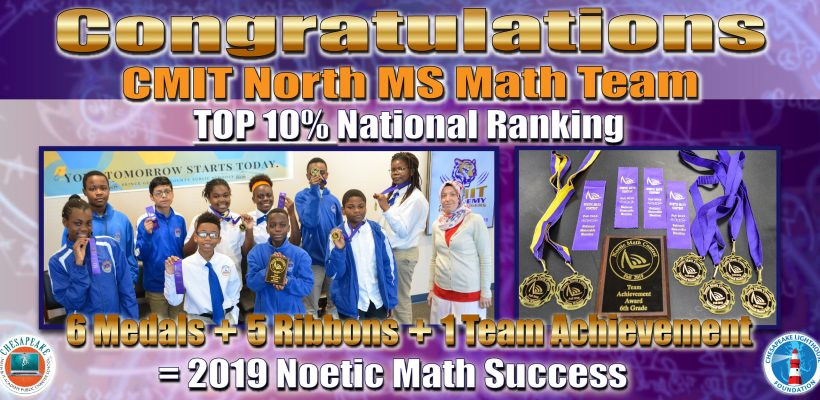CMIT North MS Math Team Ranks Top 10% in the Nation