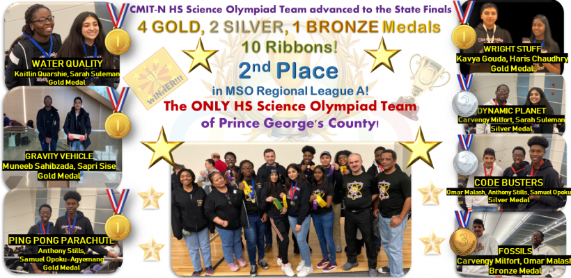 CMIT-N HS Science Olympiad Team Qualifies for 2020 MD State Finals!