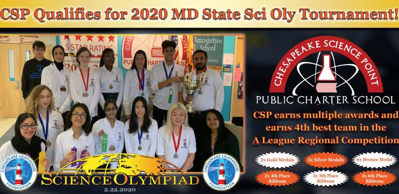 CSP Qualifies for 2020 MD State Sci Oly Tournament!