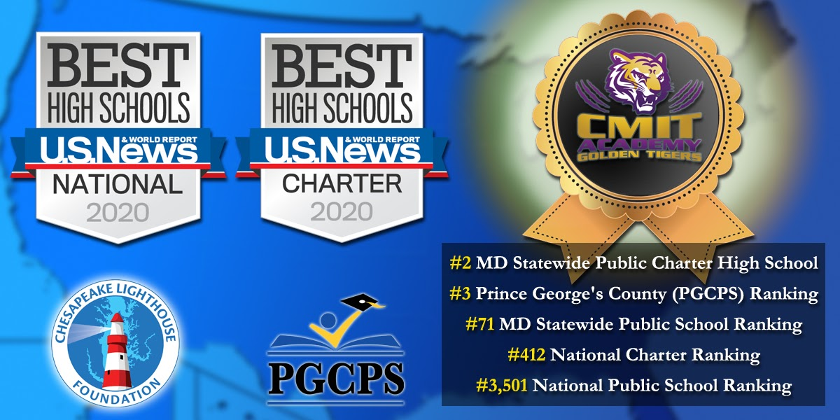 "MARYLAND'S PUBLIC CHARTERS BY CLF AMONG US NEWS & WORLD REPORT ""BEST PUBLIC HIGH SCHOOLS"" IN 2019 AND 2020."