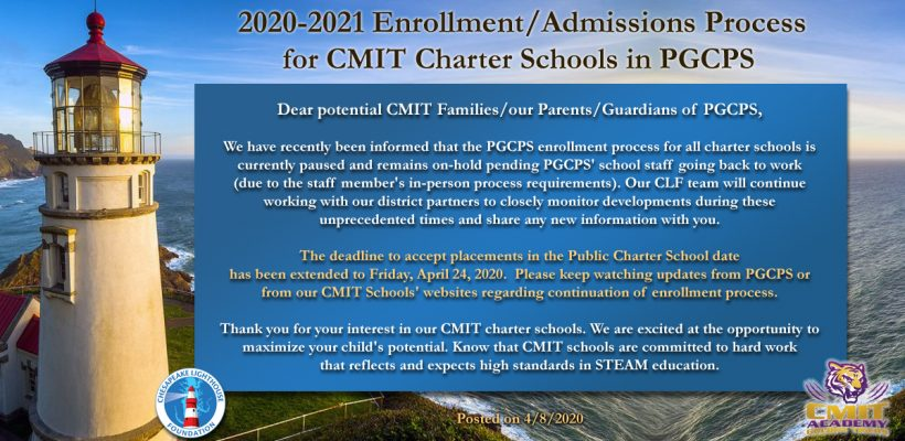 Announcement 2020-2021 Enrollment/Admissions Process for CMIT Charter Schools in PGCPS