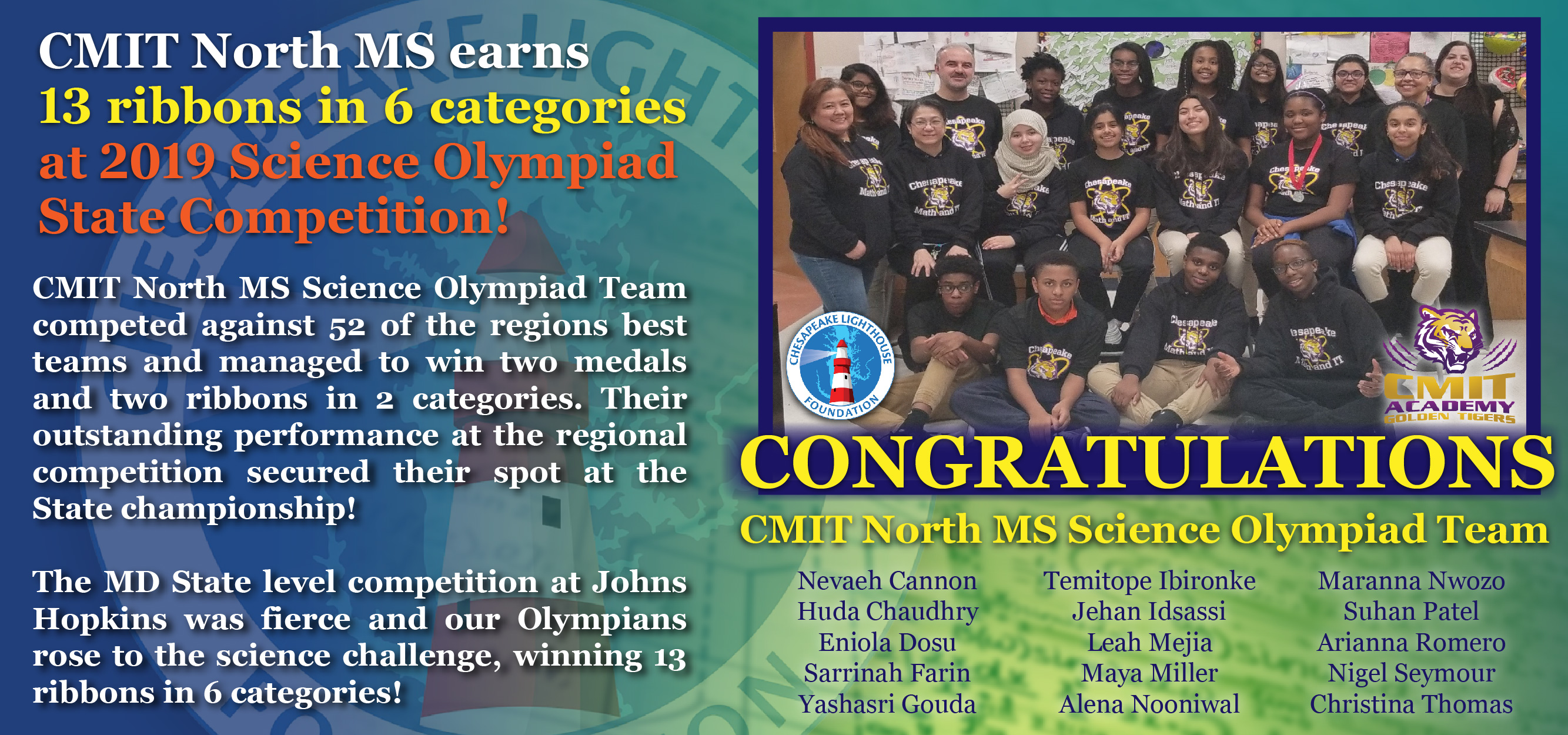 CMIT North MS Earns 13 Ribbons in 6 Categories!