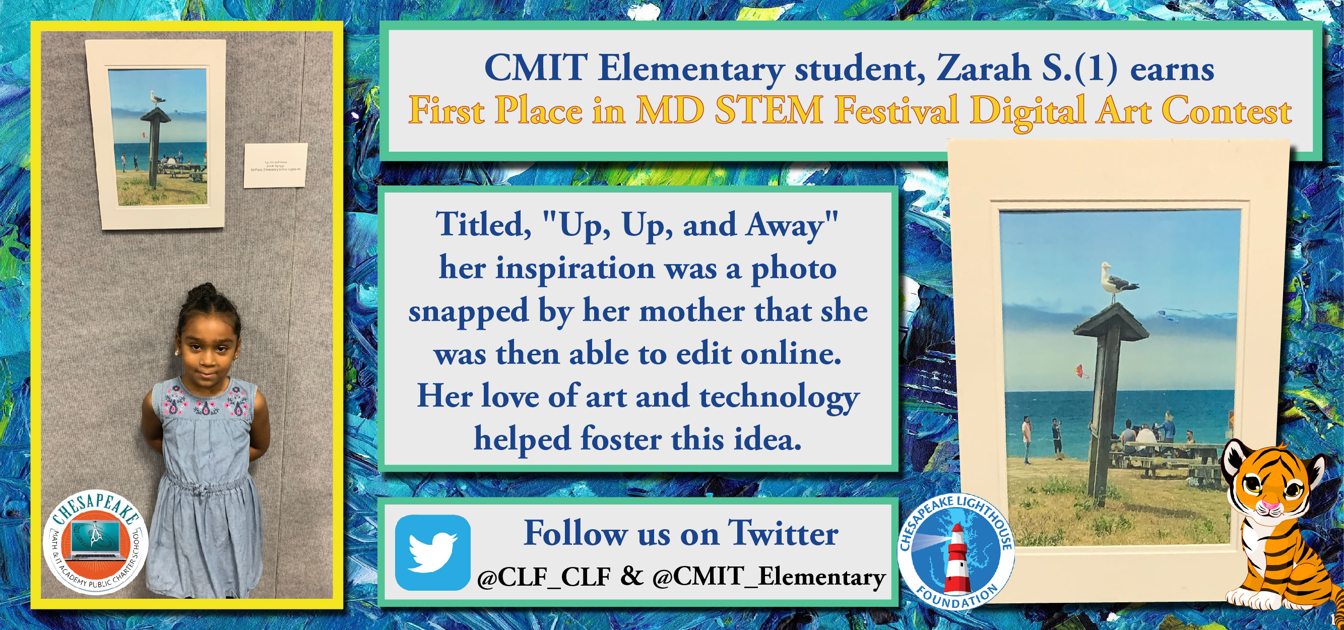 CMIT North Elementary 1st Grader wins 1st Place in MD STEM Festival Digital Art Contest