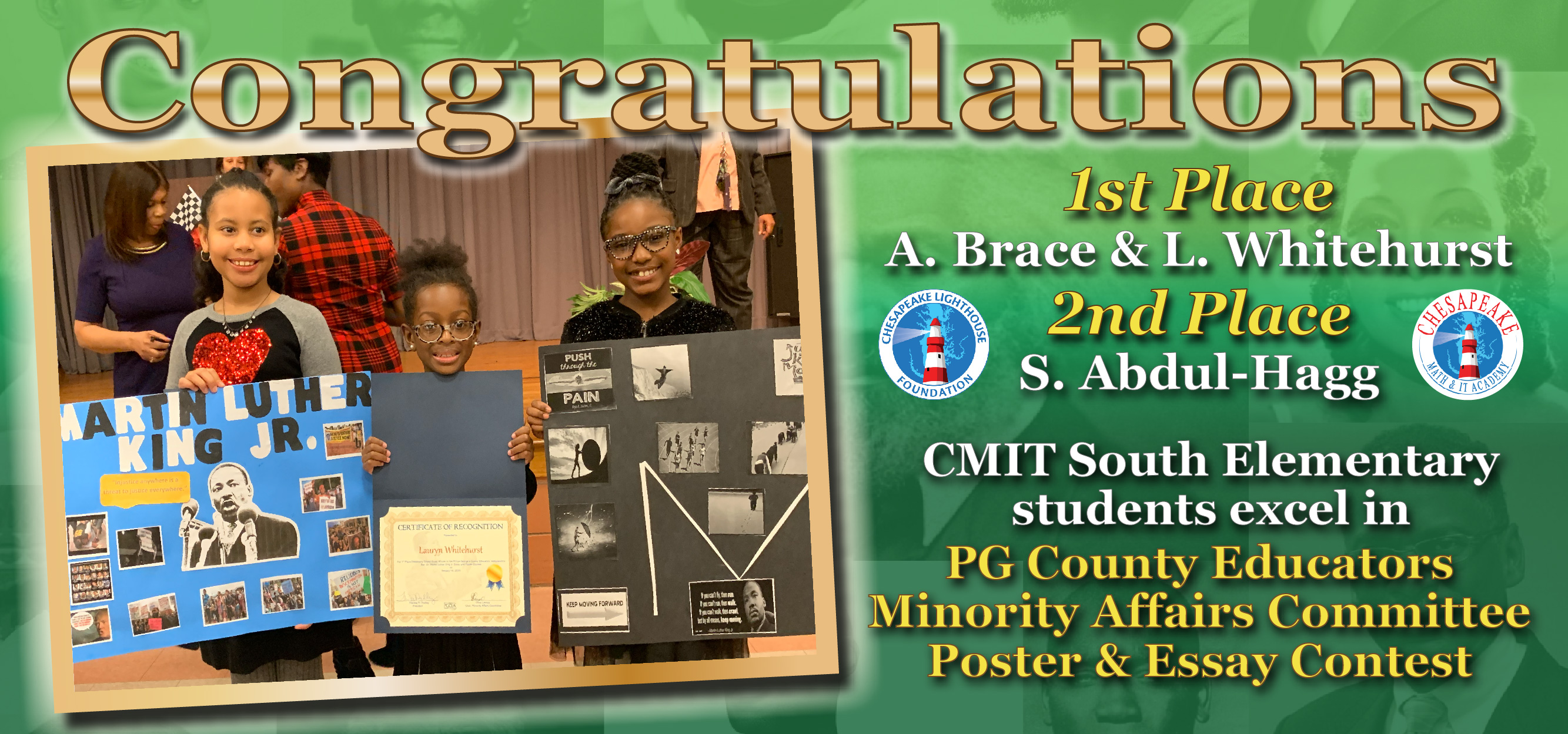 CMIT South Elementary Students Excel in PG County Educators Minority Affairs Committee Poster & Essay Contest