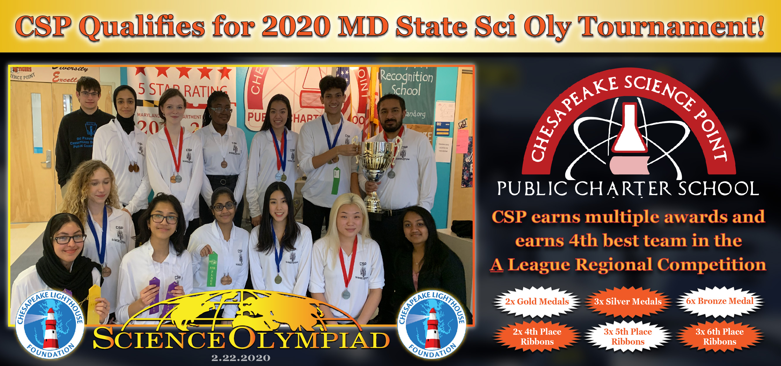 CSP Sci Oly Team Qualifies for State Competition!