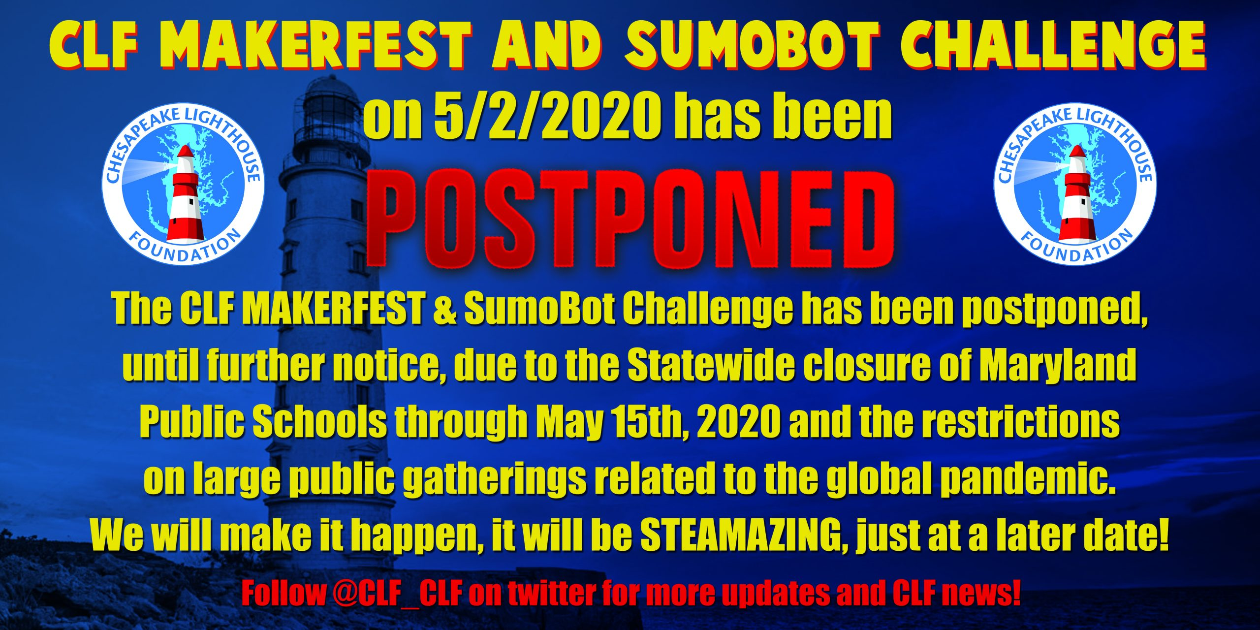 CLF MakerFEST and SumoBot Challenge have been POSTPONED