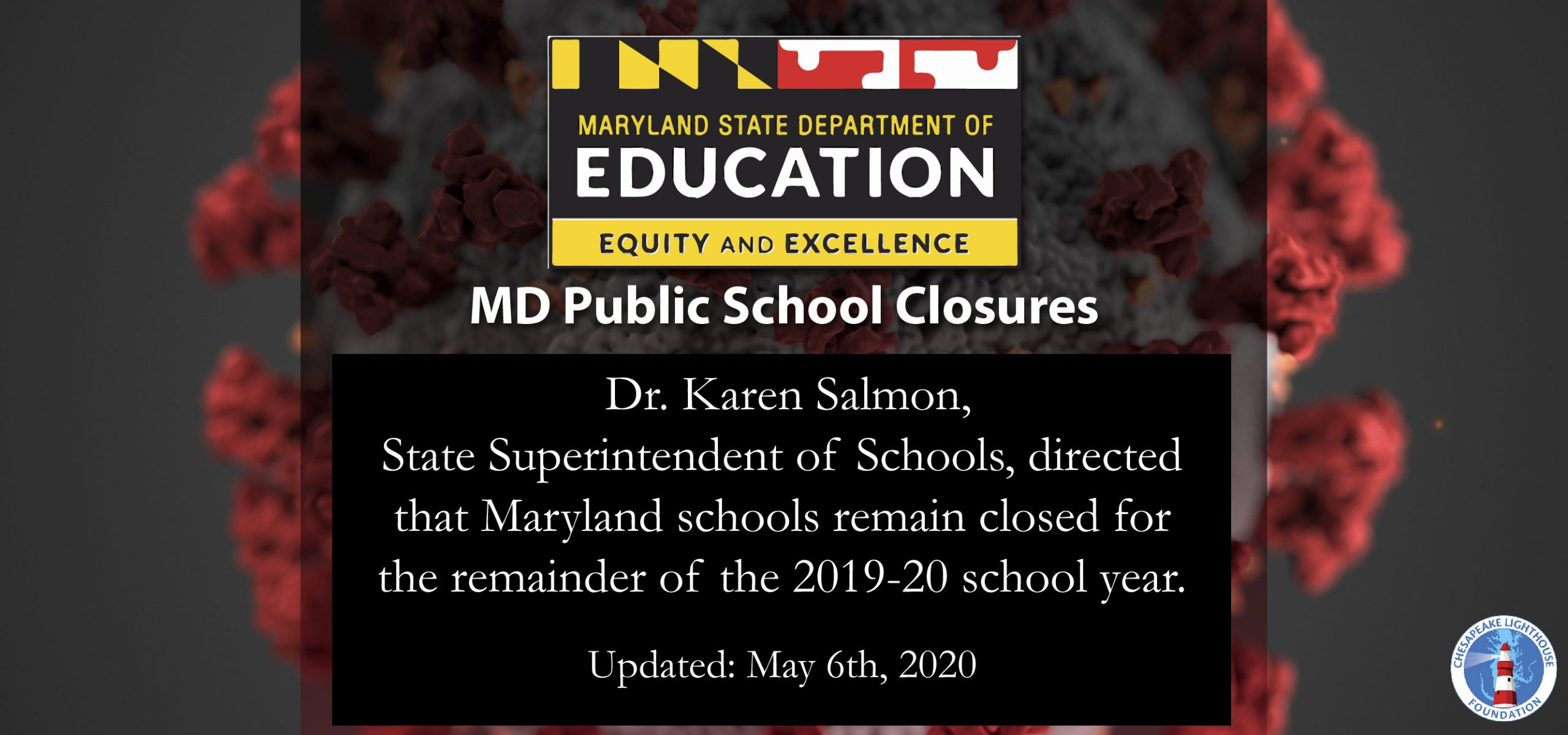 ALL MD Public Schools are Closed for the Remainder of the 2019-20 School Year