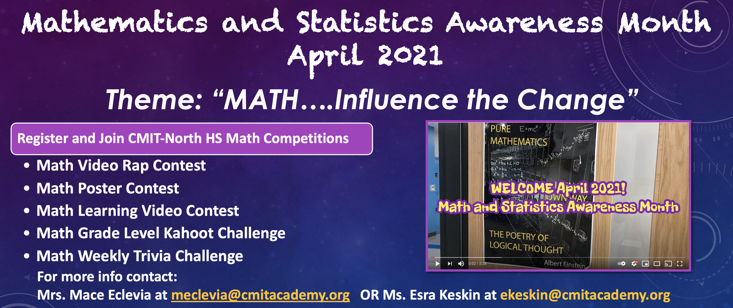 Mathematics and Statistics Awareness Month  April 2021