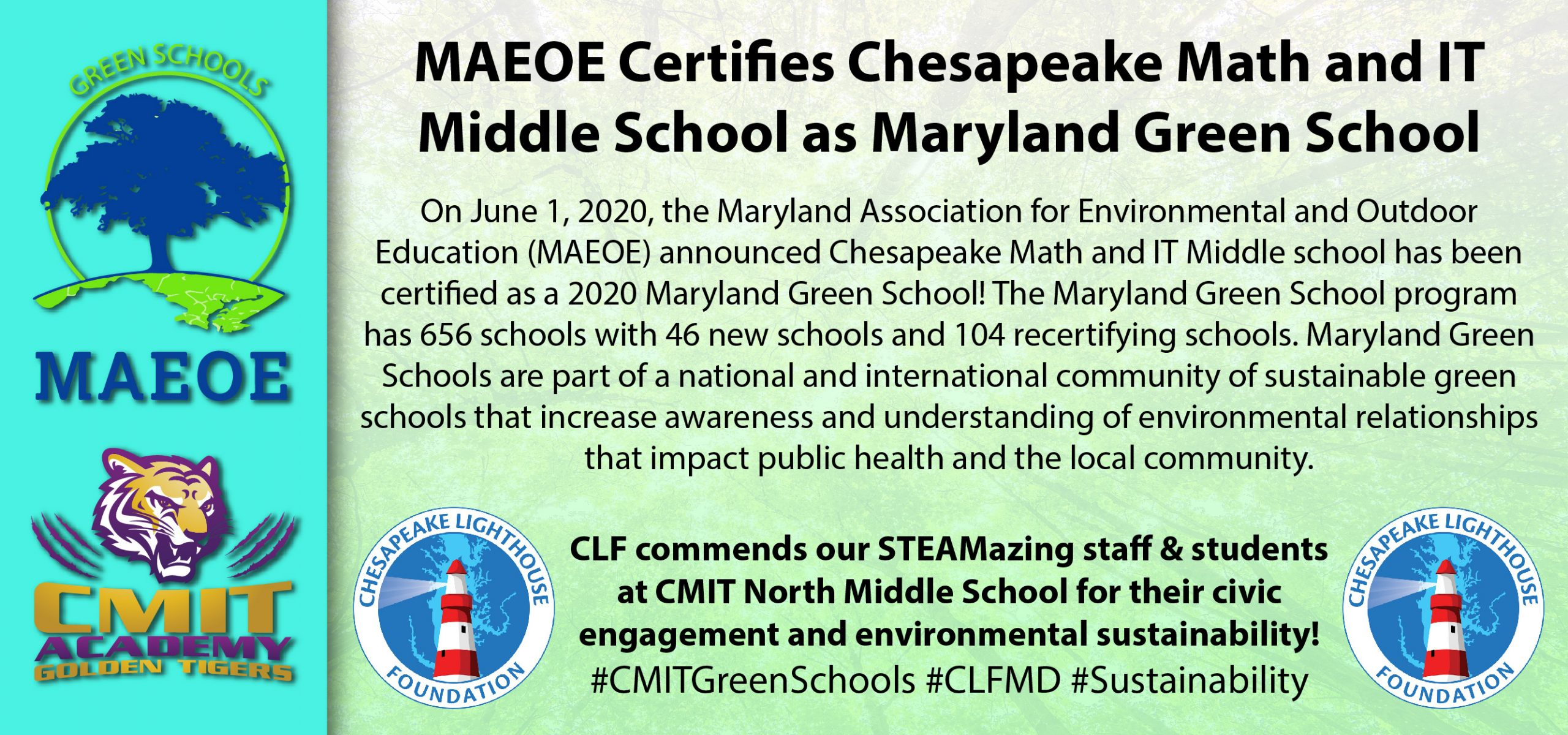 CMIT Academy North Middle School Certified Green!